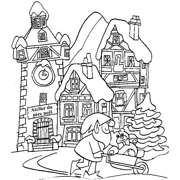 Coloriage et dessins gratuits Paysage d'atelier de Noël à imprimer