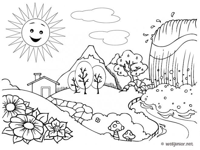 Coloriage paysage de campagne avec cascade dessin gratuit - Coloriage paysage mer ...