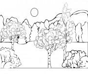 Coloriage et dessins gratuit Paysage de Campagne en couleur à imprimer