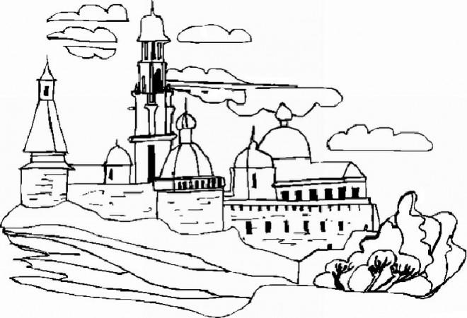 Coloriage et dessins gratuits Paysage de Château à imprimer
