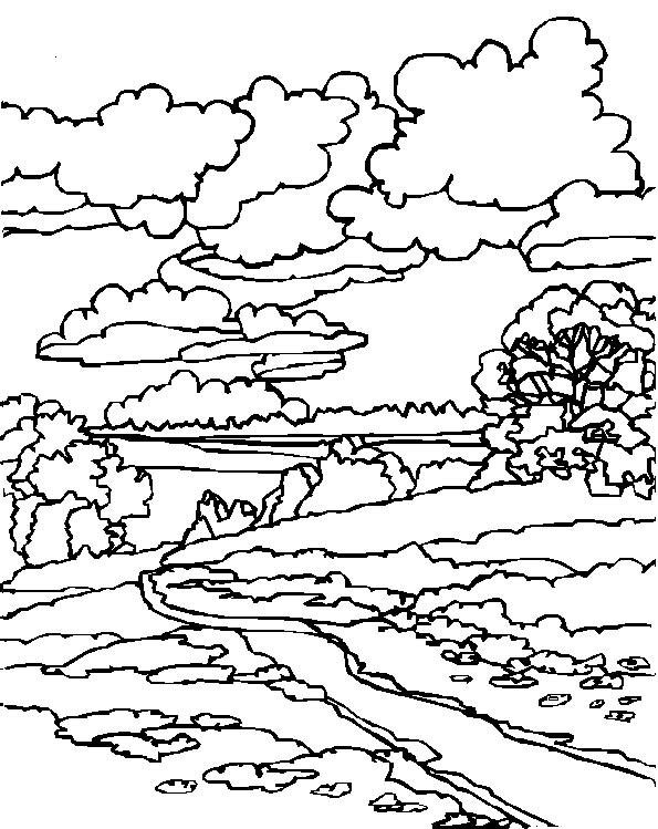 Coloriage et dessins gratuits Paysage de ciel nuageux à imprimer