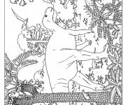 Coloriage et dessins gratuit Paysage de Dinosaures à imprimer