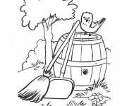 Coloriage et dessins gratuit Paysage de ferme avec petit oiseau à imprimer