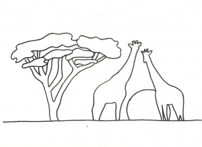 Coloriage et dessins gratuits Paysage de girafes à imprimer