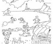Coloriage et dessins gratuit Paysage de La Plage à imprimer
