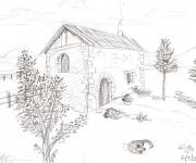 Coloriage et dessins gratuit Paysage de maison de Campagne à imprimer