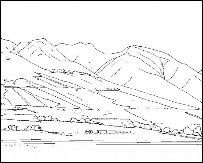 Coloriage et dessins gratuits Paysage de Montagne couleur à imprimer