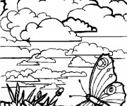 Coloriage et dessins gratuit Paysage de nuages à imprimer