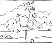 Coloriage Paysage de Palmier sur une île