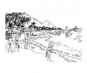 Coloriage et dessins gratuit Paysage de plage à colorier à imprimer