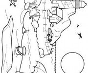 Coloriage et dessins gratuit Paysage de plage en noir et blanc à imprimer