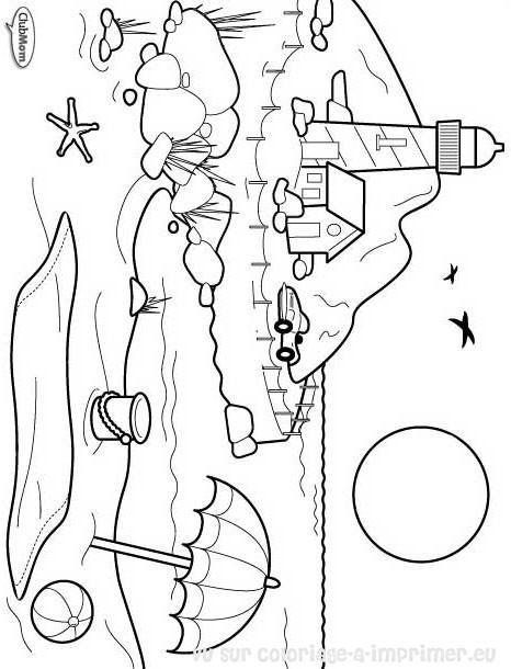 Coloriage et dessins gratuits Paysage de plage en noir et blanc à imprimer