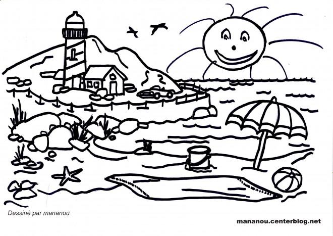 Coloriage paysage de plage et montagne dessin gratuit - Coloriage de plage ...
