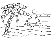 Coloriage et dessins gratuit Paysage de Plage maternelle à imprimer