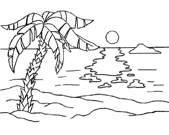 Coloriage et dessins gratuits Paysage de Plage maternelle à imprimer