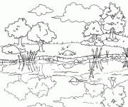 Coloriage Paysage de Rivière stylisé