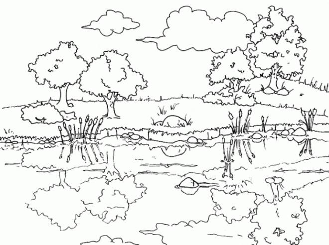 Coloriage et dessins gratuits Paysage de Rivière stylisé à imprimer