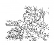 Coloriage et dessins gratuit Paysage de route rurale à imprimer