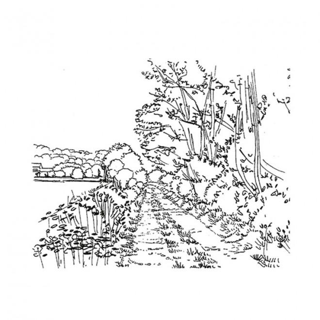 Coloriage et dessins gratuits Paysage de route rurale à imprimer