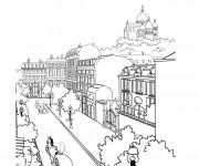 Coloriage et dessins gratuit Paysage de ville à imprimer