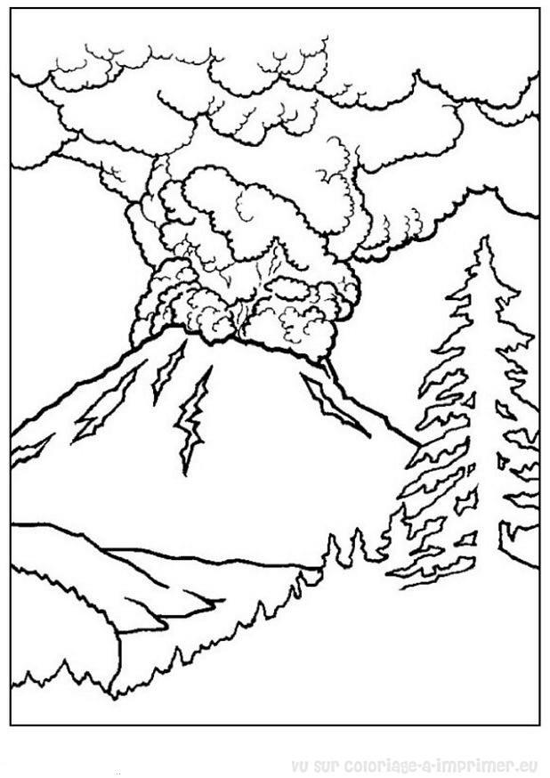 Coloriage Adulte Volcan.Coloriage Paysage De Volcan Dessin Gratuit A Imprimer