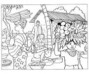 Coloriage et dessins gratuit Paysage en Afrique à imprimer