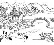 Coloriage et dessins gratuit Paysage Jardin Chinois à imprimer