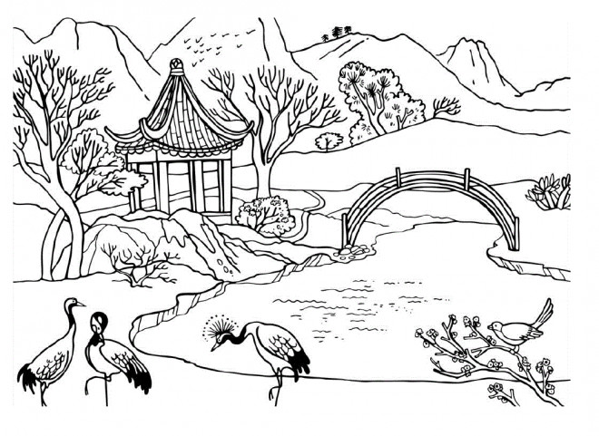 Coloriage et dessins gratuits Paysage Jardin Chinois à imprimer