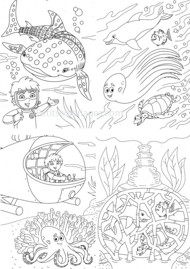 Coloriage et dessins gratuits Petit explorateur des Fonds Marins à imprimer