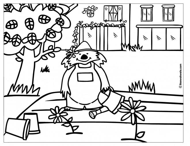 Coloriage et dessins gratuits Petit ours fait du jardinage à imprimer