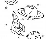 Coloriage Fusée se lance vers l'univers
