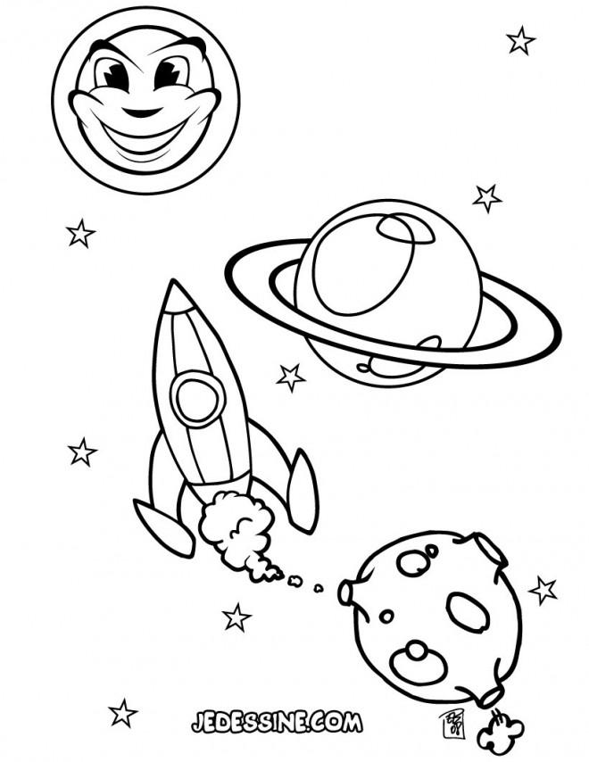 Coloriage et dessins gratuits Fusée se lance vers l'univers à imprimer