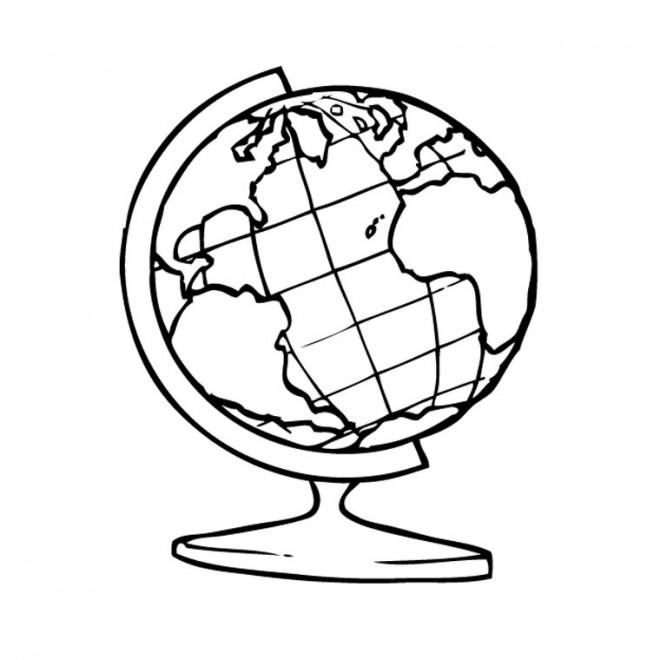 Coloriage et dessins gratuits La carte de Terre à imprimer