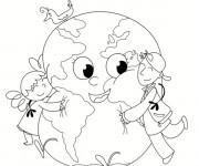 Coloriage La terre et les petits enfants