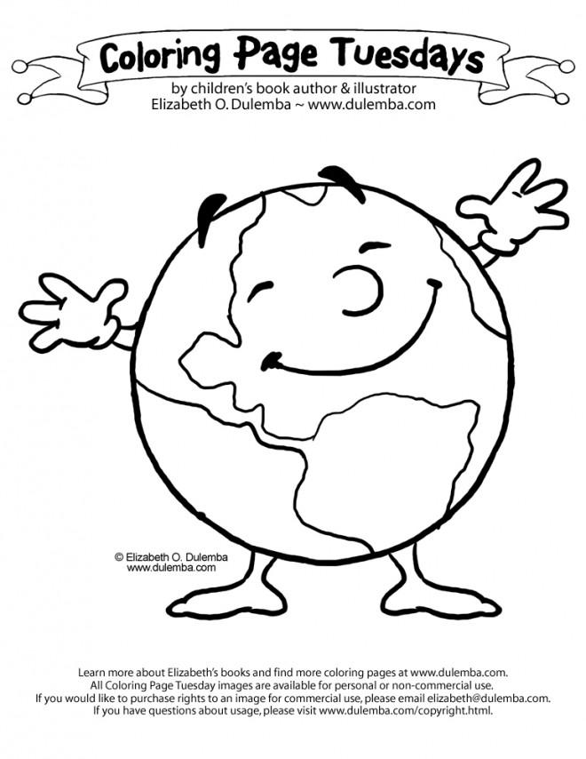 Coloriage et dessins gratuits La terre rigolote à imprimer