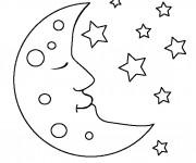 Coloriage et dessins gratuit Lune au ciel à imprimer