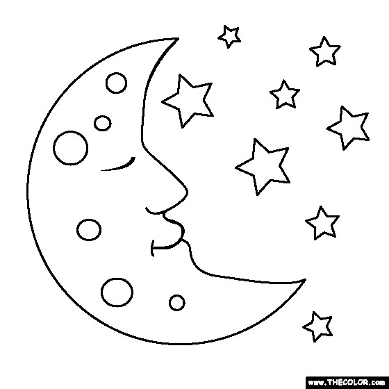 Coloriage Lune Au Ciel Dessin Gratuit à Imprimer