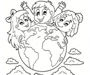 Coloriage et dessins gratuit Notre Planète Terre et les Enfants à imprimer