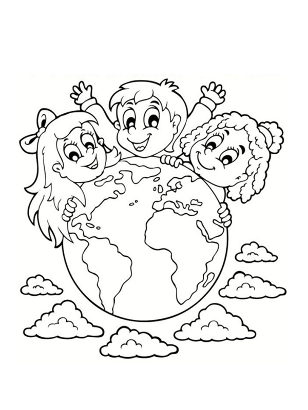 Coloriage et dessins gratuits Notre Planète Terre et les Enfants à imprimer
