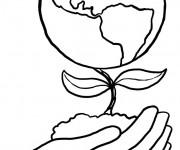 Coloriage Planète en fleur