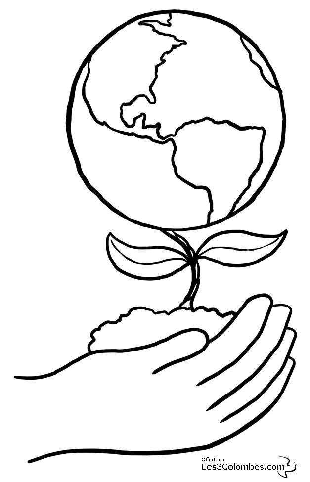 Coloriage et dessins gratuits Planète en fleur à imprimer