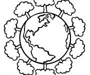 Coloriage Planète et Arbres