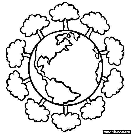 Coloriage et dessins gratuits Planète et Arbres à imprimer