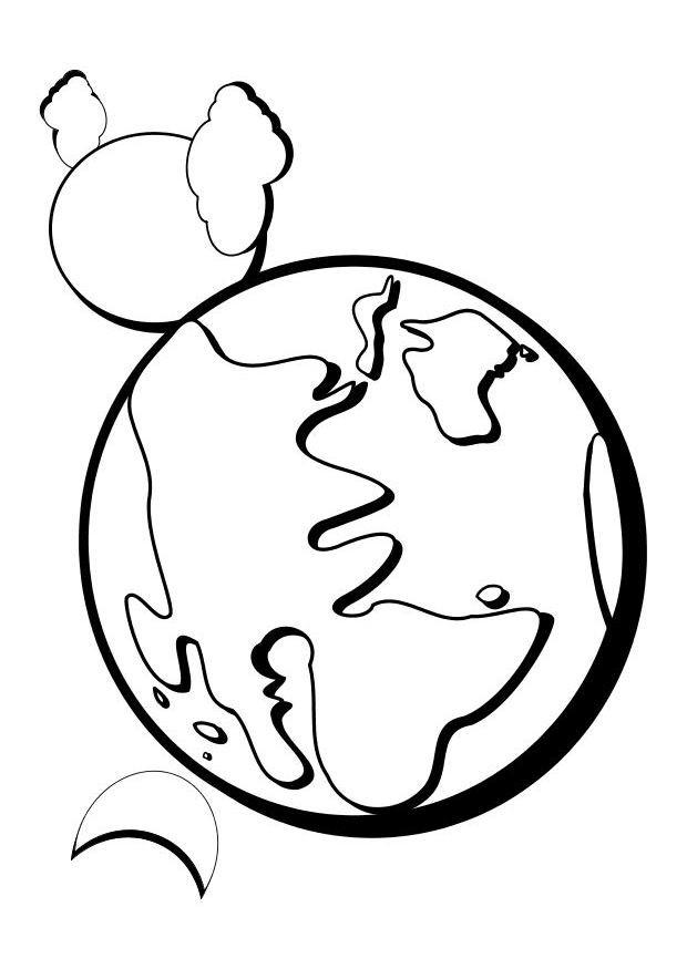 Coloriage Planète Et Sa Lune à Compléter