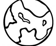 Coloriage Planète et ses Continents à colorier