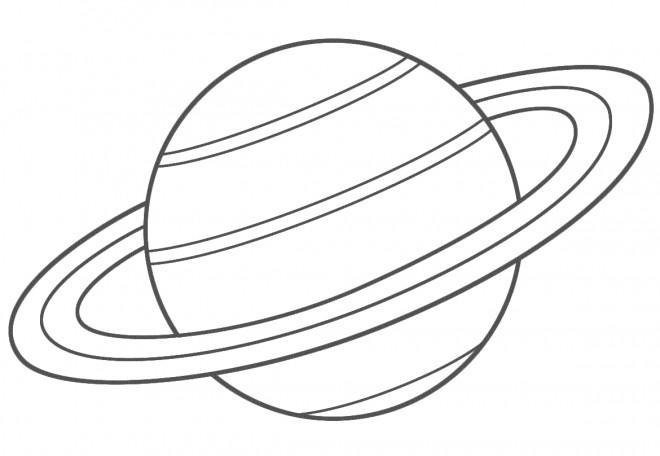 Coloriage et dessins gratuits Planète Saturn en noir à imprimer