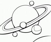 Coloriage Planète Saturn et ses Lunes