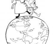Coloriage et dessins gratuit Planète Terre dessin animé à imprimer