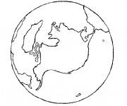 Coloriage Planète Terre en noir et blanc