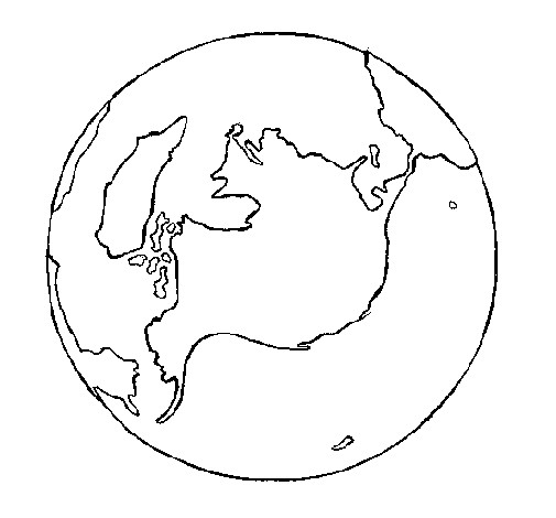 Coloriage et dessins gratuits Planète Terre en noir et blanc à imprimer